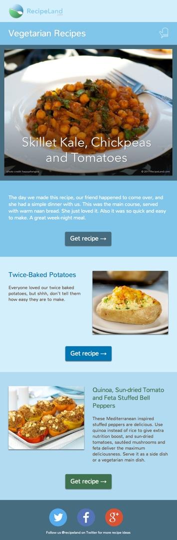 Vegetarian Recipes sample e-newsletter