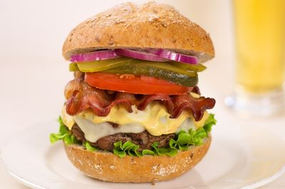 Hamburger loaded with two cheeses and bacon