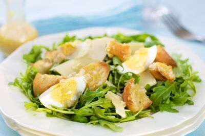 Arugula Salad with Garlic Croutons, Gruyere and Eggs