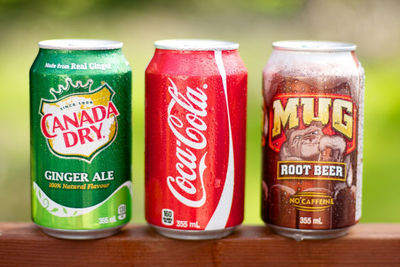 Sugary fizzy drinks - Ginger Ale, Coca-Cola and Root Beer