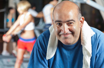Stock photo, middle-age man rests after exercise