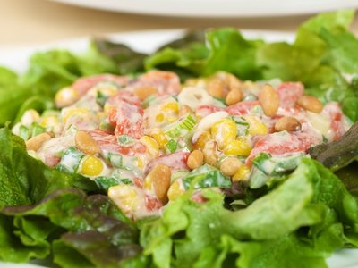 Greens with Roasted Corn and Pepper Salad