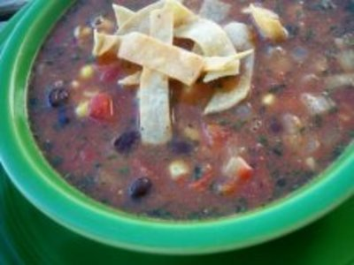 Crockpot Black Bean Tortilla Soup