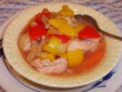 Crockpot Sweet and Sour Chicken Stew with Sweet Peppers