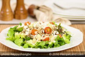 Couscous, Lentil and Mixed Green Salad with Garlic Dijon Vinaigrette