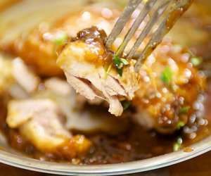 Chicken Thighs Glazed with Orange-Thyme-Cumin Sauce