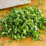 Chop the fresh cilantro.