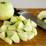 Next peel, core and chop the apples into small chunks.