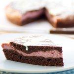 Raspberry Cream Brownie Wedges