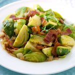 Brussels Sprouts with Bacon and Onions Stir-fry