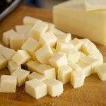 Cube the mozzarella cheese.