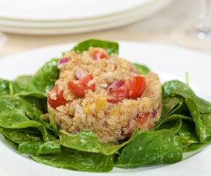 Toasted Quinoa Salad with Dried Apricots, Cherry Tomato and Baby Spinach