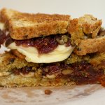 Caramelized Onion, Basil Pesto and Sun-Dried Tomato Grilled Cheese