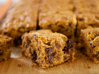 Applesauce Peanut Butter, Chocolate and Dried Fruit Coffee Cake
