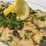 Chicken Piccata with Parmesan, Mushroom and Pea Risotto