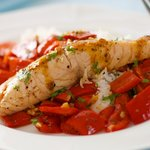 James Barber's Pan Roasted Salmon with Sweet Peppers