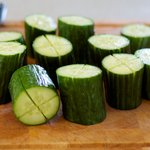 Cut each log of cucumber into a cross