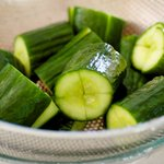 After 1 hour, drain the cucumbers and rinse with cold and running water twice.