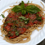 Italian Roasted Tomatoes, Basil and Spaghetti