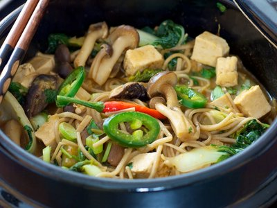 Korean Mushroom-Bok Choy Stew with Soba