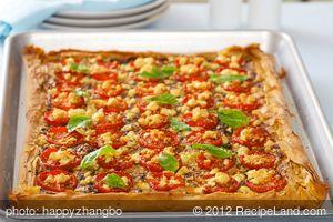 Tomato, Feta and Pesto Phyllo Tart
