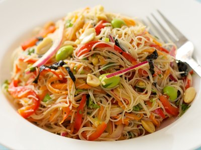Soy Bean Salad with Brown Rice Noodles