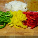 Colorful slice sweet bell peppers
