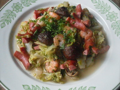 Spring Cabbage with Mushrooms, Frankfurters and Shrimps