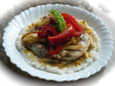 Chicken with Fennel Red Pepper and Rice