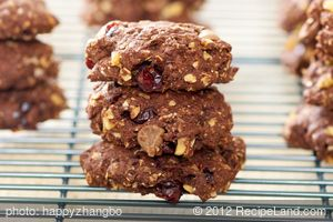 Chocolate Fudge, Cranberry and Walnut Cookies