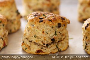 Basil, Feta, Sun-Dried Tomato and Olive Scones