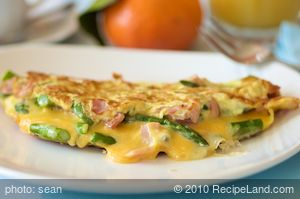 Asparagus and Canadian Bacon Cheese Omelet