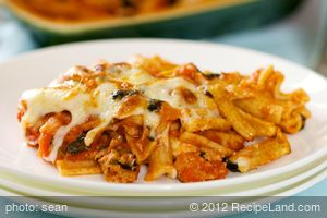 Baked Pasta with Sausage, Tomatoes, and Cheese