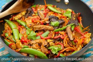Sugar Snap Pea, Shiitake and Tofu Stir-Fry