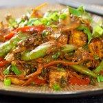 Sugar Snap Pea, Mushroom and Tofu Stir-Fry
