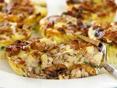 Mushroom and Sausage Quiche Muffins