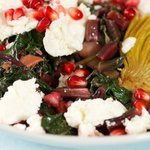 Beet Green, Artichoke Hearts and Pomegranate Salad
