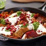 Beets, Chorizo and Pomegranate Braise with Cilantro Salsa