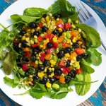 Blueberry, Roasted Corn, Soy Bean and Arugula Salad