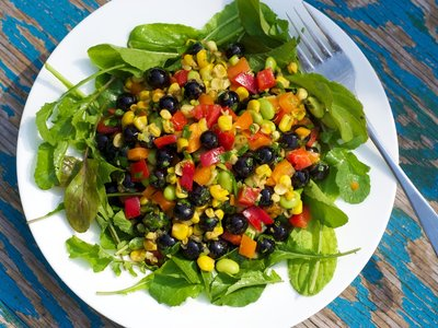 Blueberry, Roasted Corn, Soy Bean and Arugula Salad