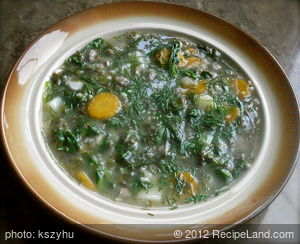 Green Barley Soup with Sorrel and Spinach