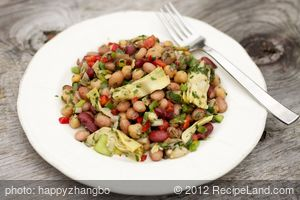 Three Bean Salad with Sweet Bell Peppers and Artichoke Hearts