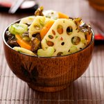 Lotus Root and Wood Ear Salad with Soy-Ginger Dressing
