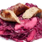 Octoberfest Braised Red Cabbage with Bratwurst