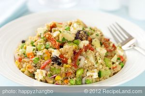 Quinoa and Edamame Salad with Sun-Dried Tomato and Olives