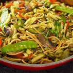 Asian Stir-Fried Spaghetti with Veggies