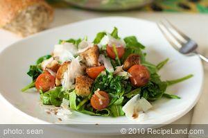 Warm Arugula Bread Salad