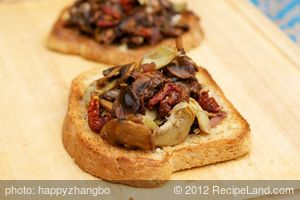 Cheesy Caramelized Mushroom and Sun-Dried Tomato on Toast