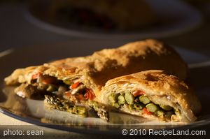 Asparagus, Mushroom and Red Pepper Strudel