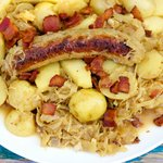 Octoberfest Bratwurst and Sauerkraut Skillet Dinner